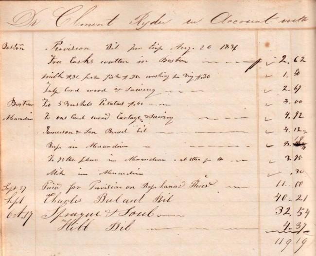 Clement Ryder Book Bought in Alexandria Nov, 7 1834 of Schoner (sic