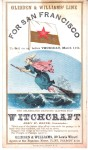 """Clipper Ship Sailing Card """"Witchcraft""""."""