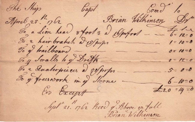 receipt for work performed on the ship delaware by figurehead carver brian wilkinson