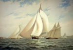 American yachts. . . . Plate XVIII. Crossing the line.
