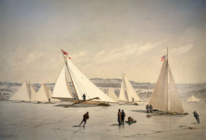 Plate XXV. Ice boating on the Hudson.