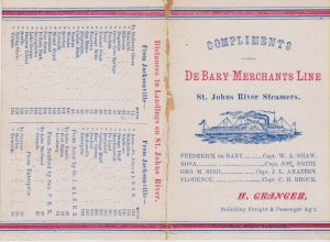 Trade Card and Schedule for De Bary Merchant's Line.