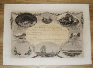 Engraved Membership Certificate for the Marine Society of Newburyport.